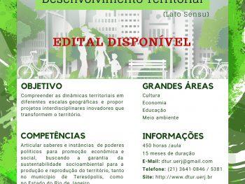 Disponibilizado edital para a segunda turma da Pós-Graduação em Desenvolvimento Territorial