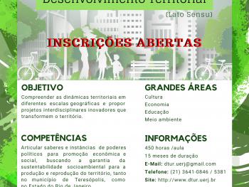 Abertas as inscrições para a segunda turma do curso de Pós Graduação em Desenvolvimento Territorial